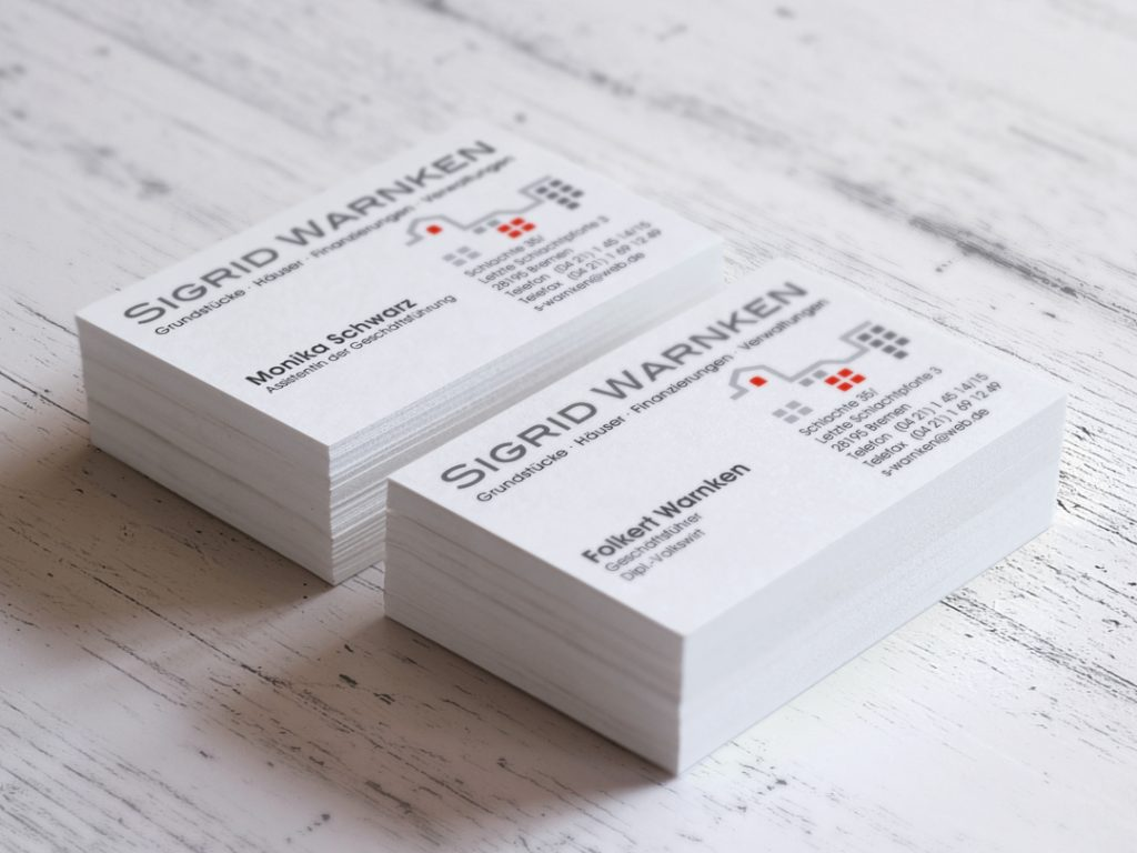Visitenkarten Sigrid Warnken Grundstuecksverwaltung Bremen